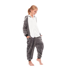 Load image into Gallery viewer, white and grey girls pajamas with pocket