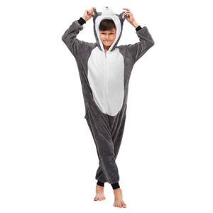 soft huskie plush boys onesie