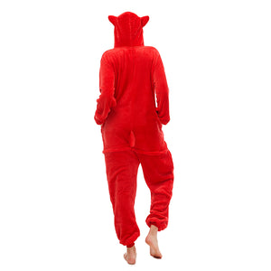 hooded red tail onesie for women