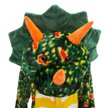 Load image into Gallery viewer, vivid Green Toothless Triceratops onesie