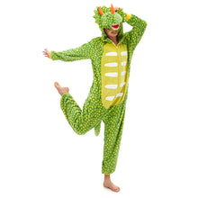 Load image into Gallery viewer, full body adult green triceratops onesie