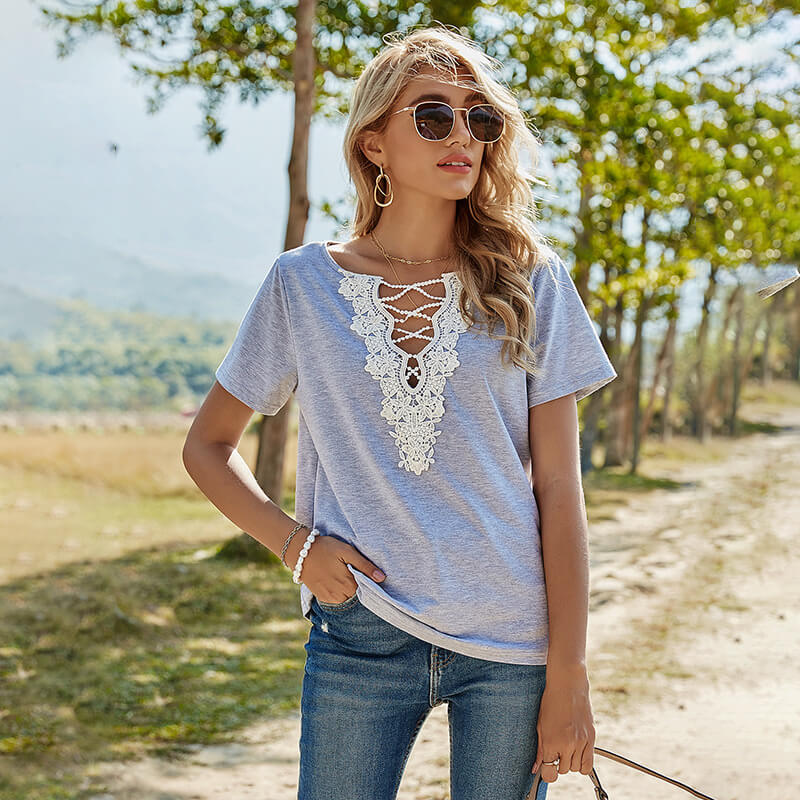 Lace V-neck Short Sleeves Women T-Shirt