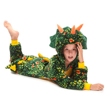 Load image into Gallery viewer, hooded green girls pajamas