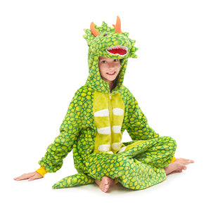 comfy green  Triceratops grils pajamas