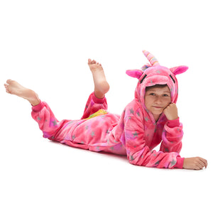 thick fleece long sleeve hooded pajamas