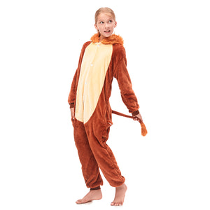 Furry Fleece Girls Brown Lion Hooded Pajamas Sleepwear