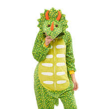 Load image into Gallery viewer, hooded green footless pajamas with triceratops