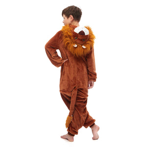 brown hooded long sleeve jumpsuit for boys