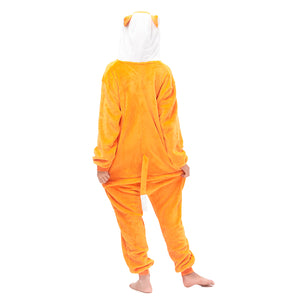soft plush girls fox pajamas with a white hood