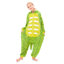 Load image into Gallery viewer, girls tail  Triceratops green pajamas
