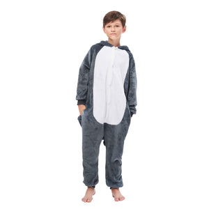 2020 top gray plush long hair huskie pajamas for boys