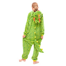 Load image into Gallery viewer, hooded green Triceratops girls onesies