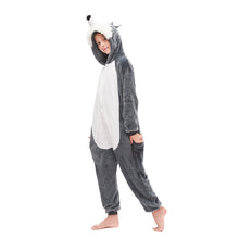 Load image into Gallery viewer, tail grey huskie plush footless onesies