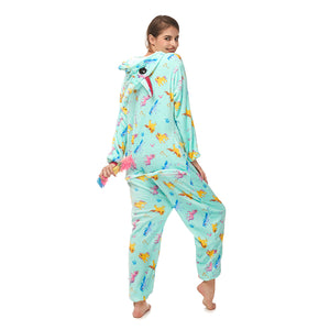 cute Pegasus print women green onesie
