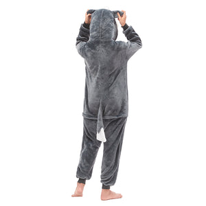 grey and white hooded pajamas