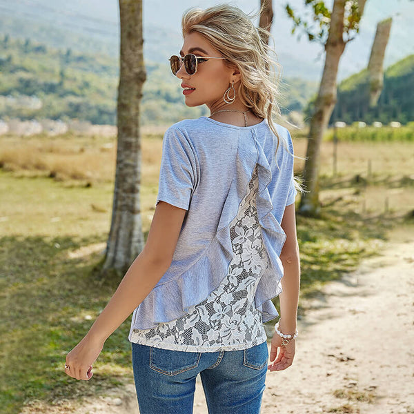 Jewel Short Sleeves Lace Back T-shirt