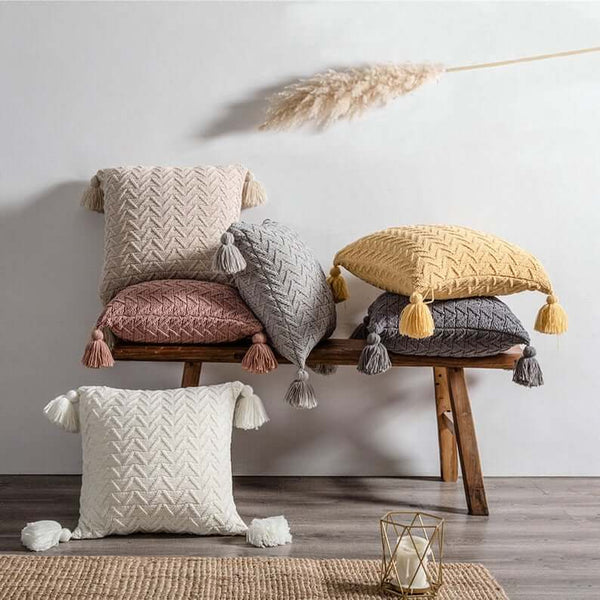 Knitted Fringed Sofa Pillow Case