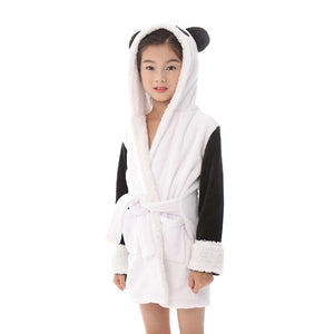 sweet white panda hooded bathrobe