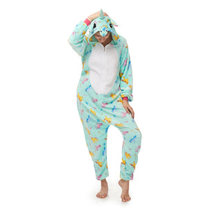 comfortable soft plush green print pajamas