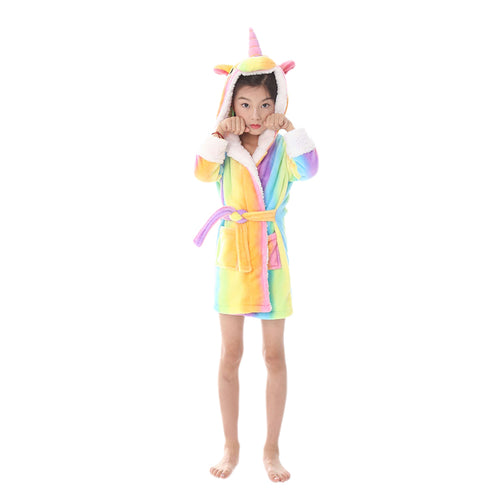 rainbow kids robes with unicorn