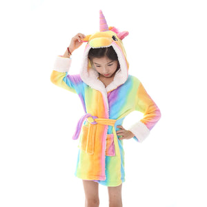 short kids robes with unicorn hood