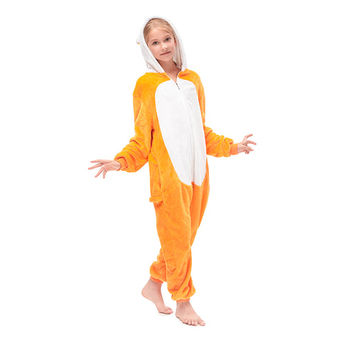 girls orange fox  pajamas