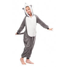 Load image into Gallery viewer, hooded footless grey pajamas