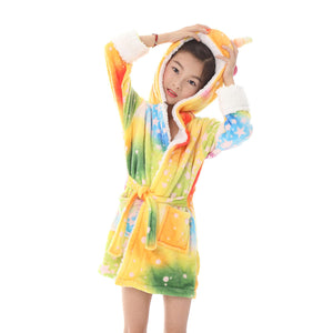 thick fleece colorful star girls robes