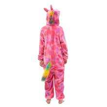 Load image into Gallery viewer, tail pink unicorn fleece onesies