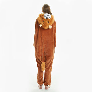 tail brown lion footless sleepgown