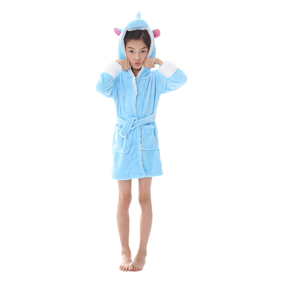 blue unicorn kids robes