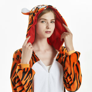 thick fleece halloween tiger women loungwear