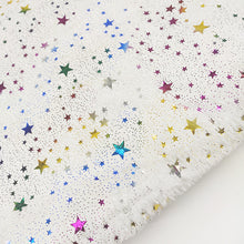 Load image into Gallery viewer, White Long-Pile Fleece Fabric Stars