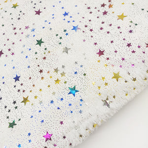 White Long-Pile Fleece Fabric Stars