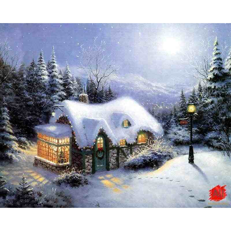 Beautiful House in the Snow Painting by Number for Adults