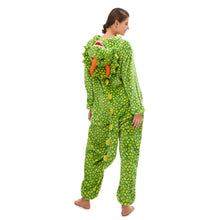 Load image into Gallery viewer, green triceratops onesie pajamas for women