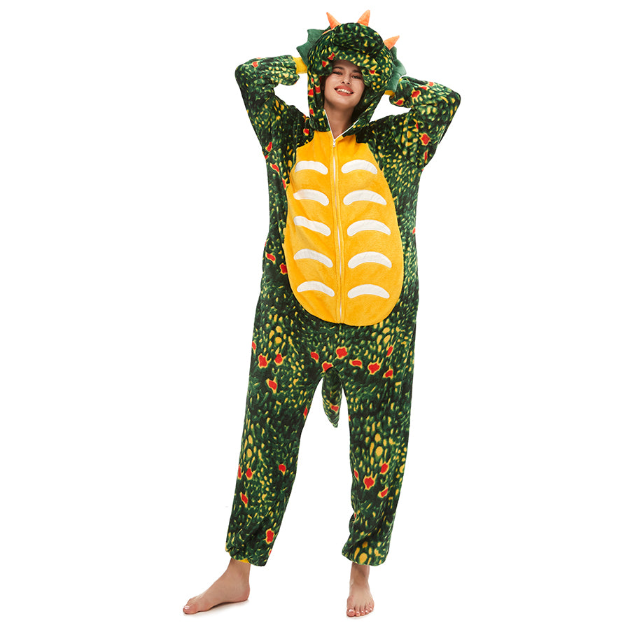 green toothless Triceratops sleeping onesie