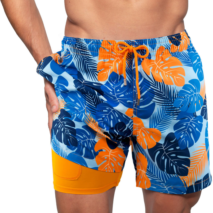 Collins- Blue Jungle Swim Trunk