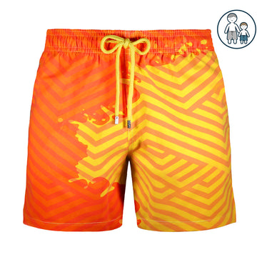 Switch V 2.0 Color Changing Swim Trunks | Geometric Yellow-Orange