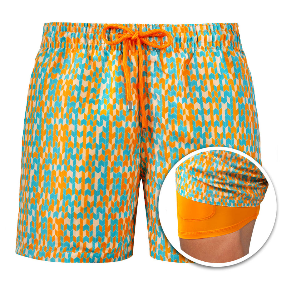 Collins - Orange Mosaic Swim Trunks