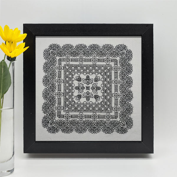 blackwork botanical blocks deco cornflower