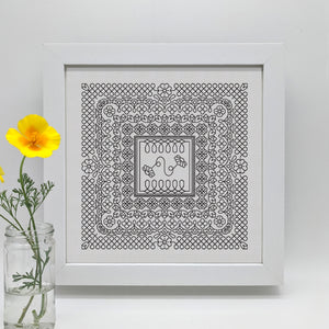 Blackwork embroidery chart PDF loopy daisies download