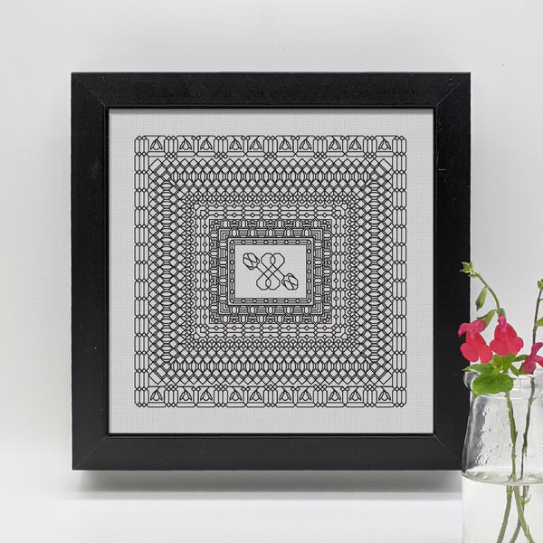 Blackwork embroidery botanical deco snowdrops