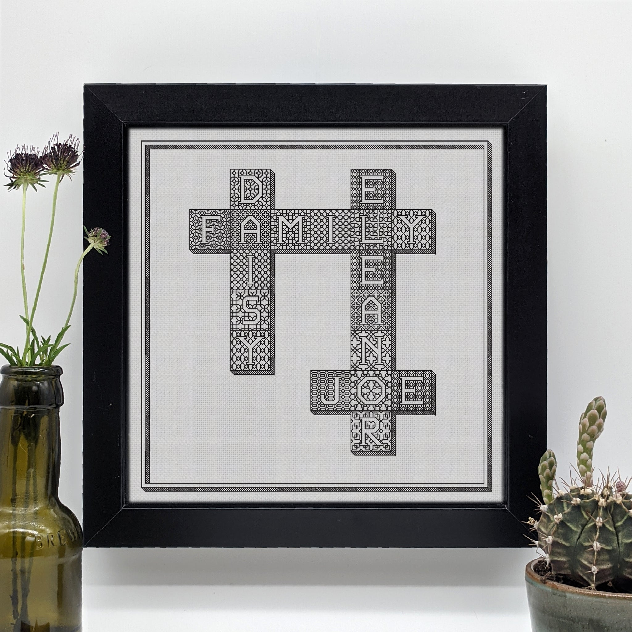 Blackwork scrabble tiles