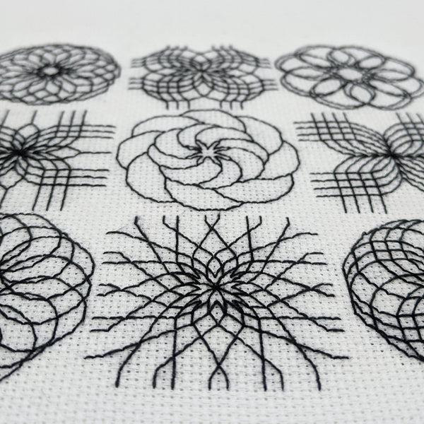 Modern blackwork embroidery