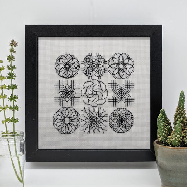 Blackwork embroidery spirograph
