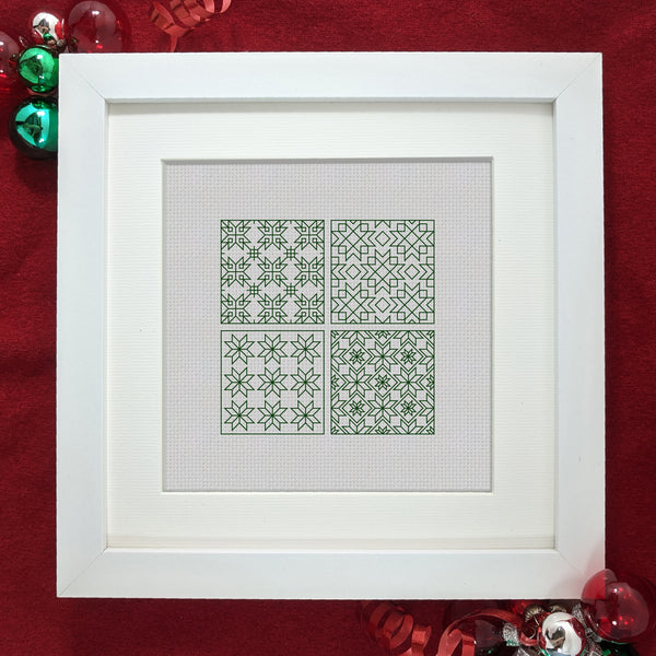 Free Christmas blackwork mini sampler - Nordic