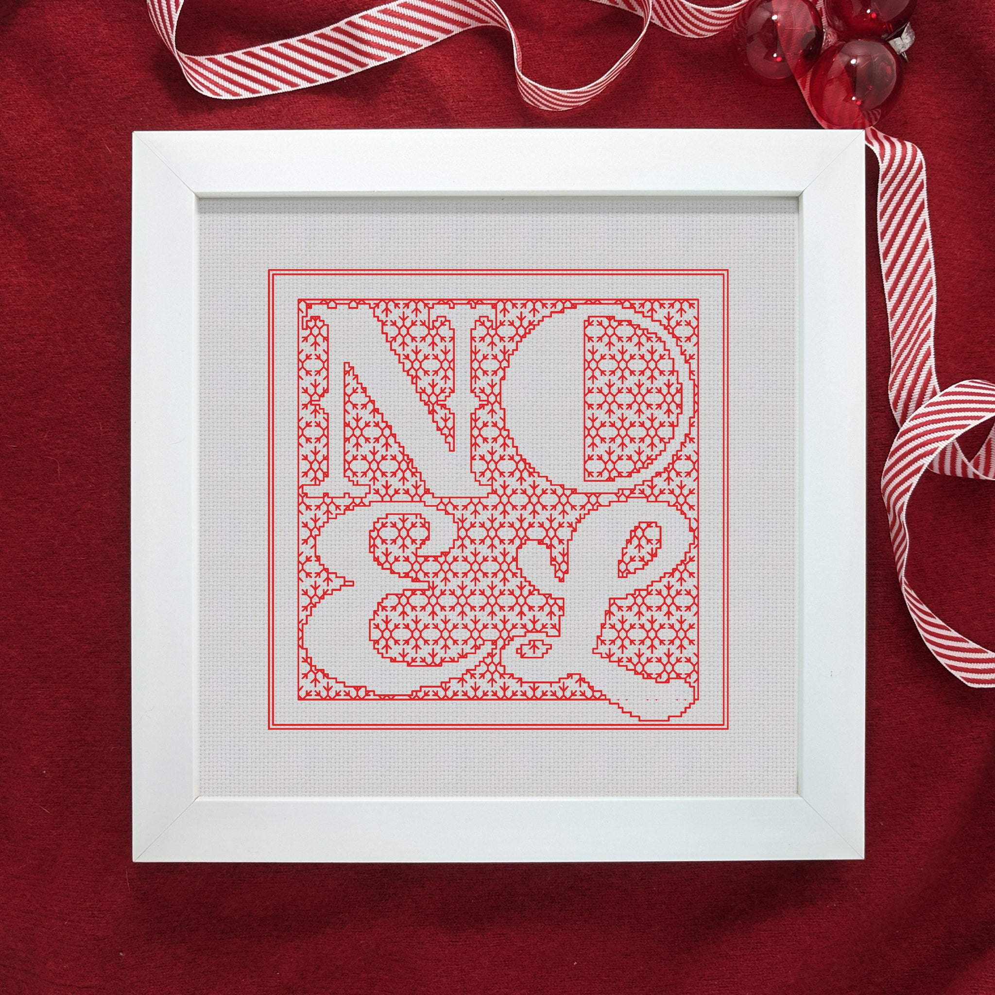 Christmas blackwork typography