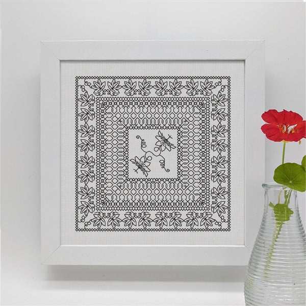 Blackwork embroidery botanical floral passion flower