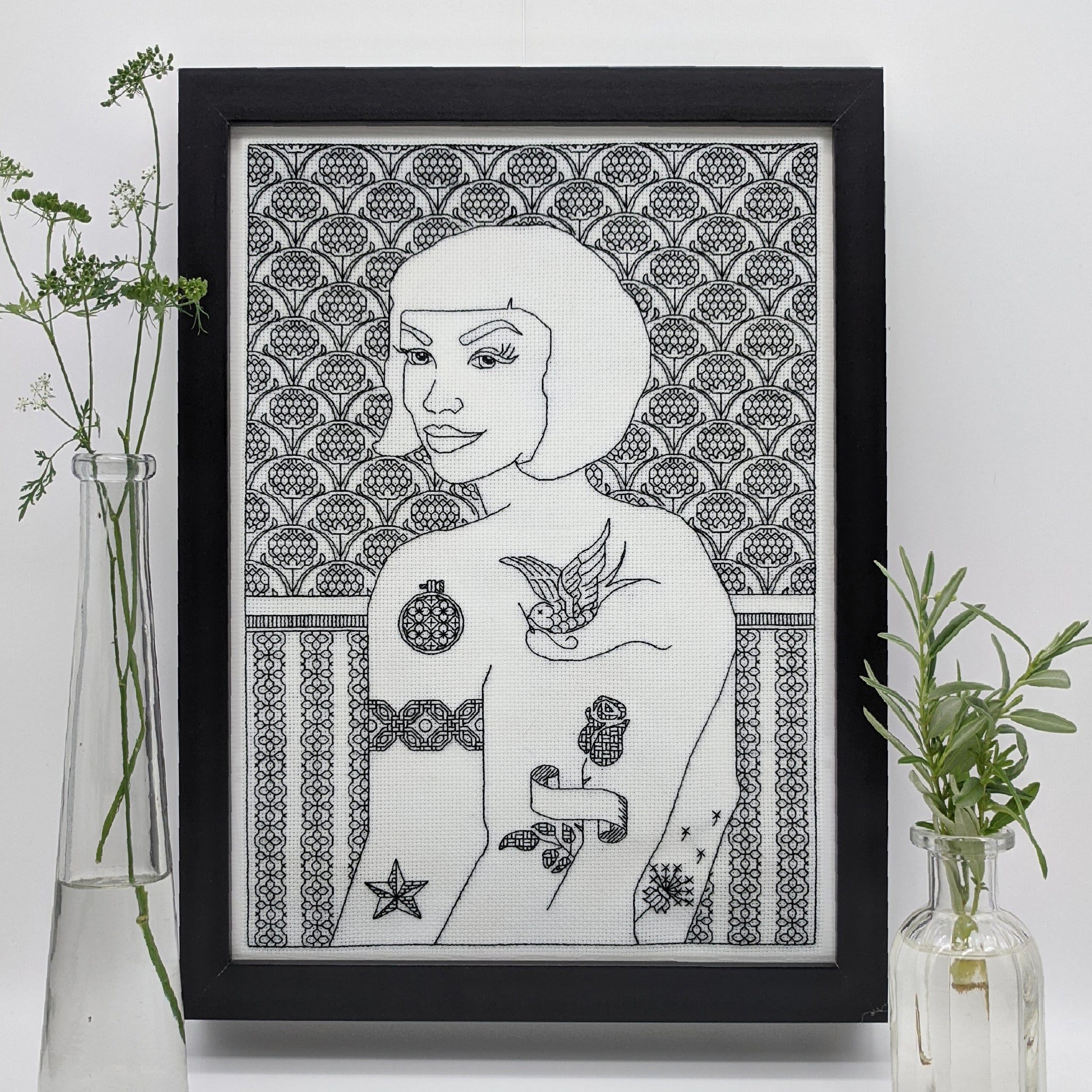 Blackwork embroidery tattooed woman